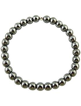 Sunsara Traumsteinshop Hämatit Armband Edelstein Kugeln (Perlen) 6 mm und 925er Silberkugel Heilsteinarmband,...