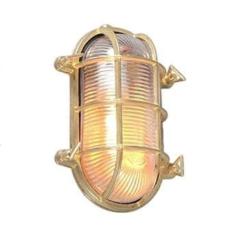 ETH Art Déco / Classique/Antique / Industriel / Rustique / Applique murale/plafonnier Nautica ovale or Verre / / Ovale Compatible pour LED E27 Max. 1 x 100 Watt / Extérieur / Salle de bain / Jardin /
