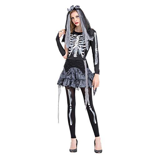 Kostüm School Old Zombie - Halloween Kostüm für Damen Karneval Zombie Braut Halloween Vampir Kostüm Dress Set Tops,Rock Hosen und Kopfbedeckung Cosplay Hochzeit Braut Kostüm Verrücktes Outfits