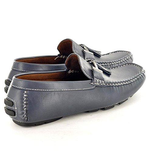 Herren Mokassins Slipper Schuhe Slipper mit Quasten Verzierung Dunkelblau