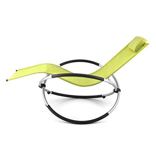 Blumfeldt Chilly Billy • Gartenliege • Liegestuhl • Schaukelliege • Relaxstuhl • ergonomische Wellenform • Sicherheitsstopper • Aluminiumrohr-Konstruktion • atmungsaktives Kunststoffgewebe • pflegeleicht • klappbar • witterungsbeständig • grün - 5