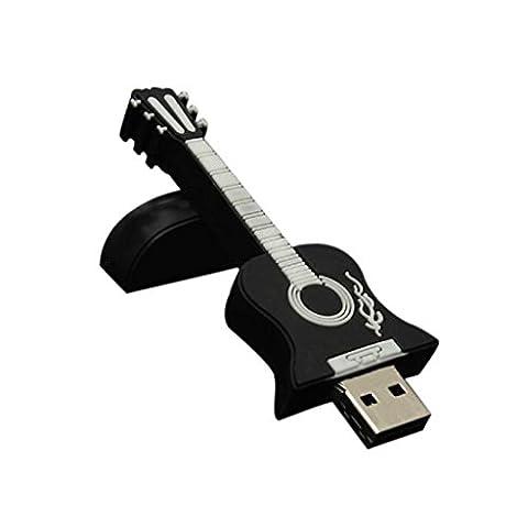 Malloom 1Go/2Go/4Go/8Go/16Go/32Go de guitare USB 2.0 Métal Flash Memory Stick disque de stockage Thumb U (Noir, 32G)