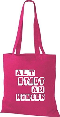 Shirtstown Stoffbeutel lustige Sprüche Altstadt Anhänger viele Farben pink