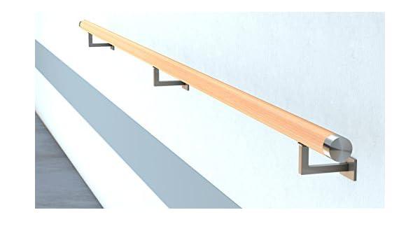 50 cm L/änge mit 2 Haltern und Endst/ück Halbrunde Edelstahlkappe Buche Handlauf Treppen Gel/änder Handl/äufer 30-500 cm aus einem St/ück mit Halter St/ützen Tr/äger und bearbeiteten Enden