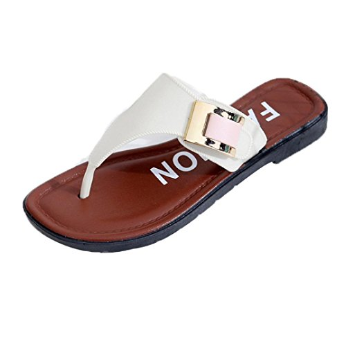 feiXIANG Home outdoor Flat Flip Flops Damen sandalen Sommer Zehentrenner (39, Weiß)