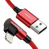UGREEN Cable Cargador iPhone 90 Grados Cable Lightning Apple MFI Certificado Nylon Trenzado ángulo Recto para iPhone 11, 11 Pro, XS, XS MAX, XR, X, 8 Plus, 7, 6s, 6 Plus, 6S, iPad y Airpods (1 Metro)