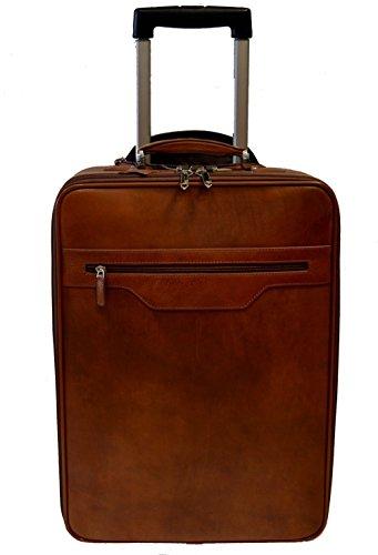 9b28ae7c1 Trolley rígida maleta de cuero bolso de cuero de viaje hombre mujer marron  ...
