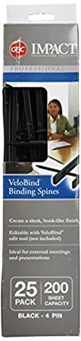 VeloBind Reclosable Spines, 200 Sheet Capacity, Black, 25/Pack