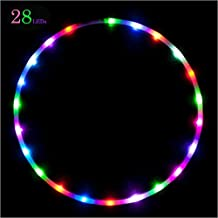 LED hula hoop, 91,4cm stroboscopico e cambia colore Willway 28hula hoop per bambini e adulti–leggero e pieghevole, 91,5 cm