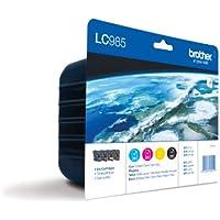 Brother LC-985VALBP Confezione 4 Cartuccia Inkjet Blister Serie 985, Nero/Ciano/Magenta/Giallo