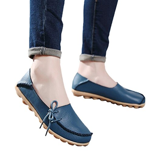 Auspicious beginning Ladies Comfy Work Leather Moccasins Loafers Flats Shoes Bleu