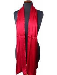 Nella-Mode Hochwertige SEIDENSTOLA in Festlichem Rot; Schal aus edel schimmender Satin Seide, ca. 180x54cm, Handrollierter Seidenschal