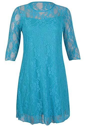 Islander Fashions Damen 3/4 �rmel Blumenspitzenkleid Damen Fancy -