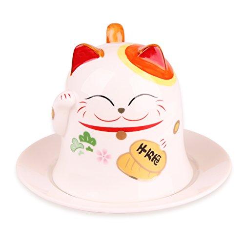 Maneki Neko Tasse im Design der japanischen Glückskatze - inkl. Untertasse (Japanische Fans)