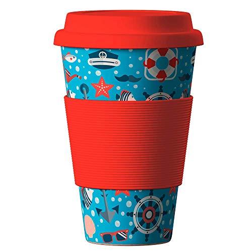 Bambus Becher wiederverwendbare Kaffeetasse mit dichtem Deckel, Trinkloch und Silikonhülle - Bamboo Eco ECoffee Cup - lebensmittelecht und spülmaschinenfest 400 ml Nautical Red
