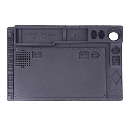 Reparatursätze , Wartungsplattform Anti-Statik Anti-Rutsch-Hochtemperatur-hitzebeständige Reparatur-Isolierplatte Silikon-Matten mit Komponenten-Sektion, Größe: 42cm x 28.8cm