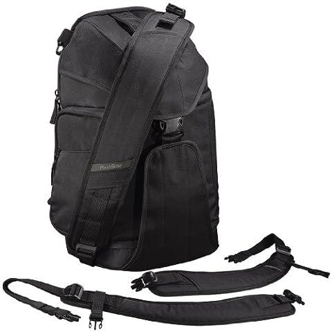 Flashstar 2in1 Kamerarucksack mit Sling-Bag-Funktion (DSLR Foto Rucksack, Schnellzugriff, flexibles Tragesystem, Stativhalterung, Regenhülle) schwarz