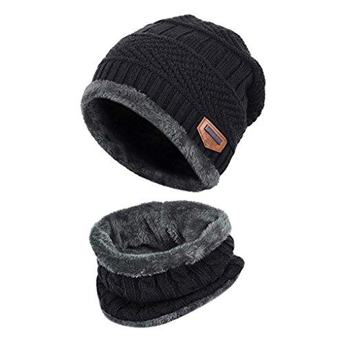 Aruny Wintermütze Hat Mütze Kreis Schal Sets Für Männer & Frauen Doppelte Schichten Warm Strick mit Nap Tuch Ski Outdoor Sports Soft Knit Skull Cap (Schwarz)