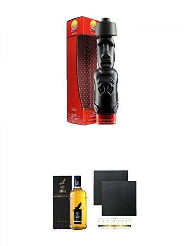 Pisco Capel Reservado Moai schwarze Figurenflasche chilenischer Brandy 0,7 Liter + Pisco Alto del Carmen Reservado chilenischer Brandy 0,7 Liter + Schiefer Glasuntersetzer eckig ca. 9,5 cm Ø 2 Stück