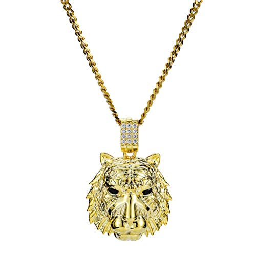 L&H Männer Tiger Head Halskette Pendant Pendant Pure Kupfer Real Gold Gold Plated Micro Inlay Zircon Hip Hop Schmuck,Gold