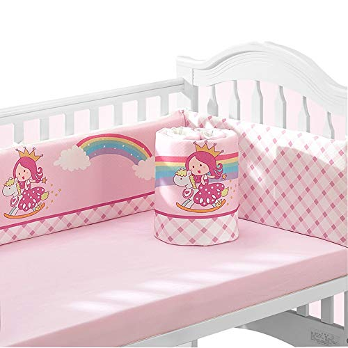 Baby Infant Crib Bumper Pads Bed Cotton Safety Rail Guard Breathable, Cradle Protector, Cot Sleep Bumper Pillow, Heighten & Thicken, Bed Sheet, 4-Sides Coverage,B2, 140×70