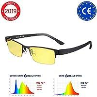 KLIM Optics Brillen mit Blaulichtfilter – Hoher Schutz - Gaming Brillen für PC, Handy und Fernseher – Anti-Müdigkeit, Anti-Blaulicht, UV-Schutz [ Neue 2019 Version ]