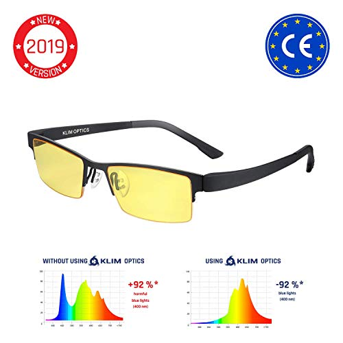 KLIM Optics Brillen mit Blaulichtfilter - Hoher Schutz - Gaming Brillen für PC, Handy und Fernseher - Anti-Müdigkeit, Anti-Blaulicht, UV-Schutz [ Neue 2019 Version ]