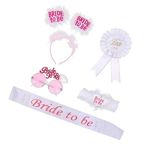 MagiDeal Bride to be Set - Schärpe, Strumpfband, Abzeichen, Sonnenbrille, Haarreif für Junggesellenabschied Junggesellinnenabschied Hen Night Party Deko