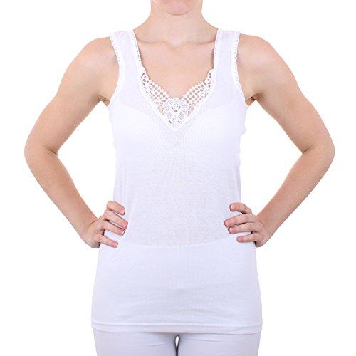 2er Pack Damen Hemd mit Spitze Feinripp aus 100% Baumwolle (Unterhemd, Oberteil) Nr. 327/0011 Weiß