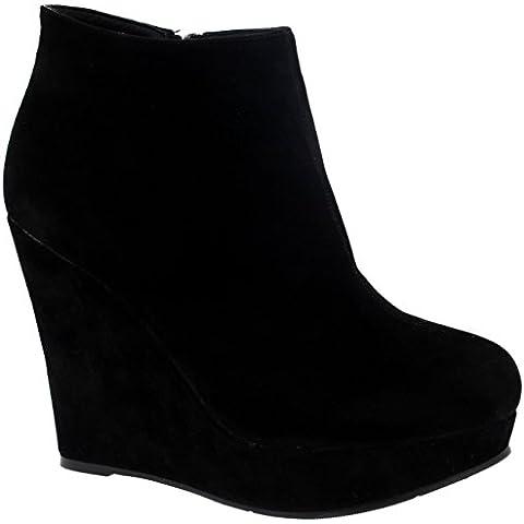 Mujer Alto Tacón De Cuña Tobillo Plataforma Negro Partido Zapatos Botas