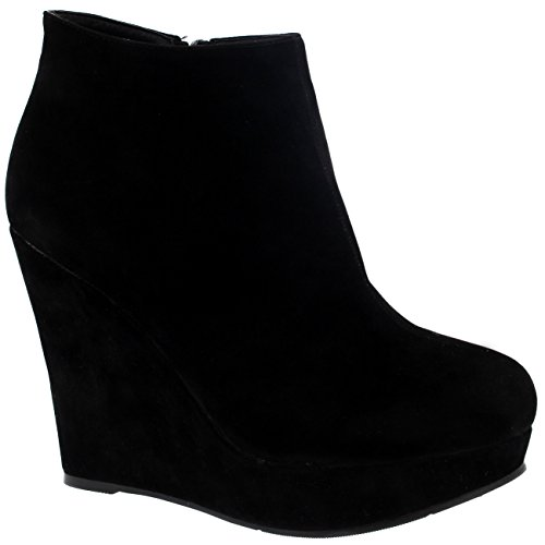 Damen Hoch Keilabsatz Plattform Schwarz Partei Schuhe Knöchez Stiefel - Schwarz - 36 - CD0067