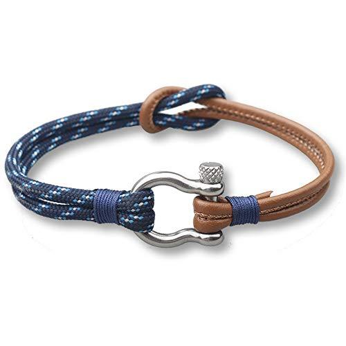 YIYIYYA Männer Armband Trendy Sport Camping Schmuck Pu Leder Und Fallschirm Kordel-Armband Edelstahl Dornschließe Für Männer Armreifen