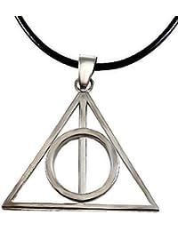 Inception Pro Infinite Collar de Encaje Negro - Las Reliquias de la Muerte - Triángulo - Círculo - Color Plata