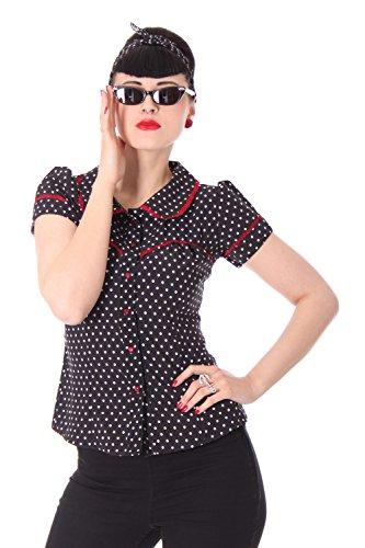 SugarShock Coleen 50er retro vintage Polka Dots Rockabilly Pin Up Puffärmel Bluse m. Rückenausschnitt -