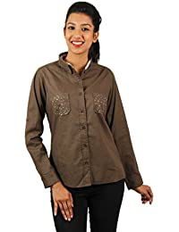 Old Khaki Solid Cotton Casual Partywear Shirt Women's Girls Shirt with Swaroski Stones on The Double Pockets in Beige Color with Contrast & Free Shipping