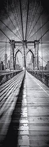 Artland Qualitätsbilder I Bild auf Leinwand Leinwandbilder Wandbilder 50 x 150 cm Städte Amerika Foto Schwarz Weiß D2GV New York City Brooklyn Bridge Panorama vertikal