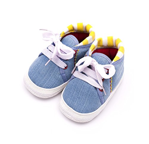 Infano Laces Style Backside Stripes Print Sky Blue Color Baby Shoes New (1 Pair)