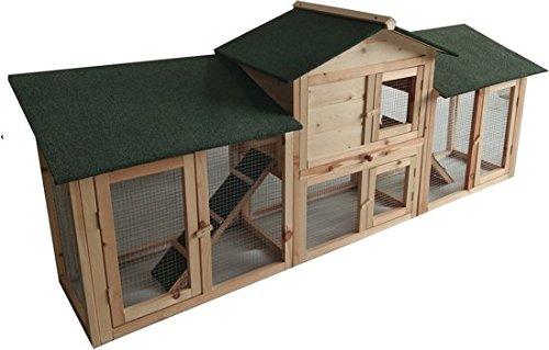 MaxxPet Warre Gabbia per Conigli - Criceto Conigliera da Esterno Giardino - Casa per Piccoli Animali in Legno di Abete - 204 x 45 x 84 cm