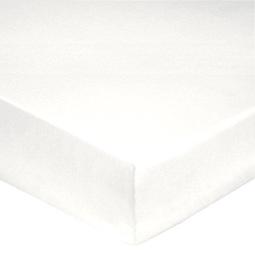 Blanc des Vosges Uni Percale Drap Housse Coton Blanc 140 x 190 cm bonnet de 30 cm