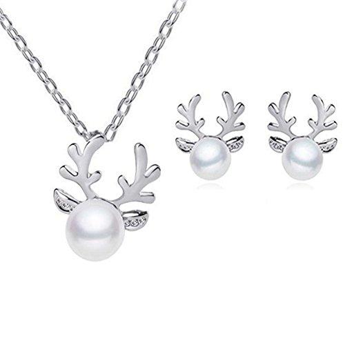 Hosaire Damen Schmuck Weihnachten Elch Geweih mit Weißer Perle Anhänger Mode Frauen Mädchen Schmuck Zubehör (Silber)