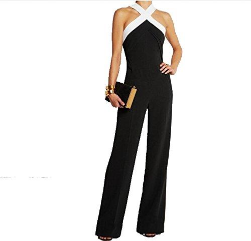 tuta con pantaloni lungo vestito abito cerimonia da donna elegante casual party-Black-L