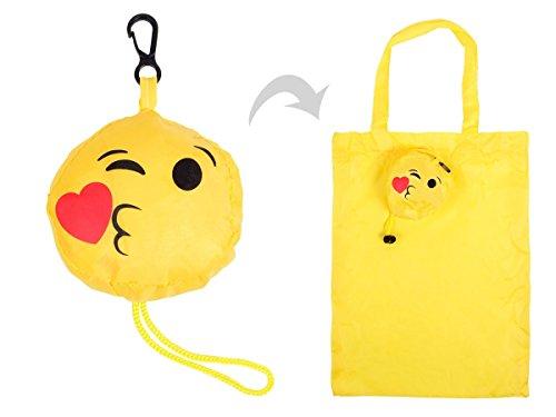 Sac shopping pliable Alsino Smiley Emoji émoticône Ultra rigolo, adopte un concept très fonctionnel Idée de cadeau, pratique,utile et pas cher à emporter partout, léger il ne prend pas de place, choisir:02/5020 baiser