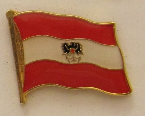 Pin Anstecker Flagge Fahne Oesterreich mit Adler Wappen Flaggenpin Badge Button Flaggen Clip Anstecknadel