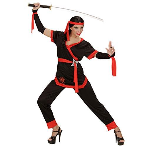 (NET TOYS Schickes Ninja Damen-Kostüm | Schwarz-Rot in Größe M (38/40) | Aufregendes Frauen-Outfit Samurai Japanische Kämpferin | Passend gekleidet für Mottoparty & Karneval)