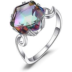 JewelryPalace Anillo Con Cuarzo Arcoiris Plata de ley 925