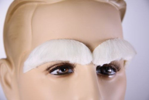 ein Paar weiße Augenbrauen für Weihnachtsmann Nikolaus Kostüm - Weiße Augenbrauen Kostüm
