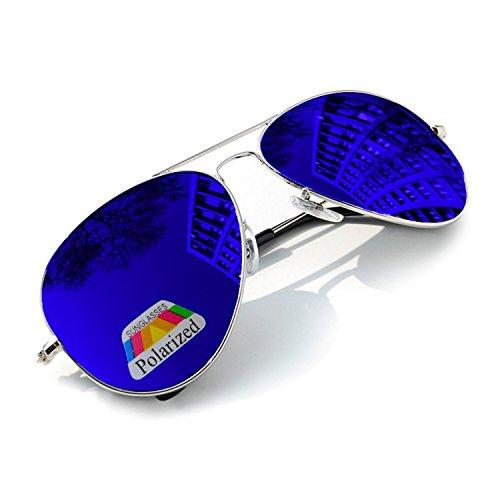 MFAZ Morefaz Ltd Kinder Junge Mädchen Sonnenbrille Gespiegelt Polarisiert Pilot Style Sunglasses (Blue Gespiegelt)