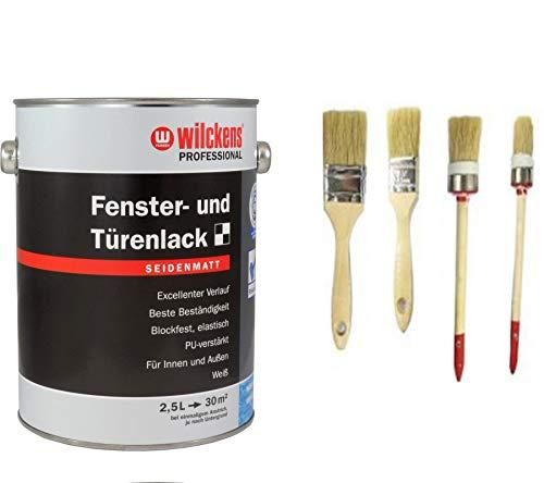 Wilckens Professional Fenster- & Türenlack 2,5 L. Weiß seidenmatt inkl. 4er Set Pinsel von E-Com24 (2,5 Liter seidenmatt)