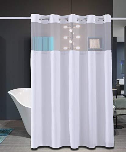 Mio-ring (Conbo Mio Hakenloser Duschvorhang mit Einrasteinsatz für Badezimmer Wasserdicht rostfrei mit Premium Magnet Flex On Ringe 71
