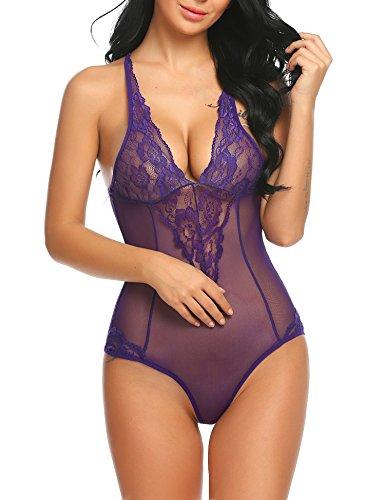 ADOME Damen One-Piece Body Bodysuit mit Spitzen mesh netz Dessous Babydoll transparent